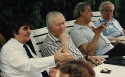 Juhász Ferenc, Cseres Tibor, Lakatos István, Hubay Miklós a Széchenyi Akadémián, 1992 (fotó: a Széchenyi Irodalmi és Művészeti Akadémia Archívuma, Fáy Béla felvétele)