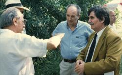 Lengyel Balázs, Domokos Mátyás és Juhász Ferenc, 1992 (fotó: a Széchenyi Irodalmi és Művészeti Akadémia Archívuma, Fáy Béla felvétele)