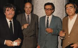 Juhász Ferenc, Domokos Mátyás, Lator László, Somlyó György, 1992 (fotó: a Széchenyi Irodalmi és Művészeti Akadémia Archívuma, Fáy Béla felvétele)