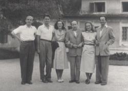 Baráti társasága Szigligeten,1954 július: Kiss Tamás (a fotó készítője), Mészöly Miklós, Polcz Alaine, Kálnoky, Nemes  Nagy Ágnes és Lengyel Balázs
