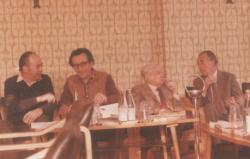 Domokos Mátyás, Lator László, Kálnoky és Mándy Iván a Pen Clubban, 1982