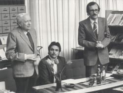 Író-olvasó találkozó a székesfehérvári városi könyvtárban, résztvevők: Kálnoky, Oszter Sándor és Bakonyi István, 1984. ápr. 25.