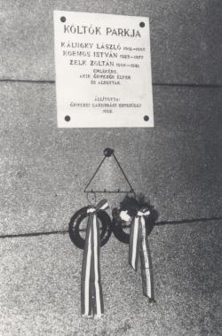 Emléktáblája Őrmezőn, 1992