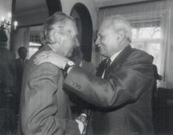 A Getz-díj átadásán, Mándy Iván és Göncz Árpád köztársasági elnök (1991)