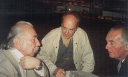 Határ Győző, Domokos Mátyás és Mándy Iván a Művész cukrászdában (1991 nyara)