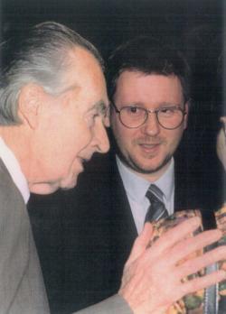 A Soros-életműdíj átadásán a Merlin Színházban (Mándy Iván és Vörös István)