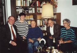 Kertész Imre, az Orbán- és a Kállai-házaspár (balról jobbra: Kertész Imre, Kállai-Kovács Erzsébet, Orbán Ottó, Kállai István és Orbán Júlia)