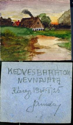 Sándor Károly Ottlik Géza névnapjára festett kis tájképe, Kőszeg, 1925 február (a Buda című regényben leírt festmény)