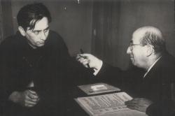Páskándi Géza és Rappaport Ottó, a kolozsvári színház rendezője, A király köve bemutatója idején (1968)