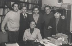 Nagy István születésnapján, jobbról: Lászlóffy Aladár, Panek Zoltán, Bajor Andor, Rácz Győző és Páskándi Géza (1972)