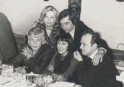 Esküvőjén, az Országház étteremben: Páskándi Géza és Páskándi Anikó, Nagy László, Szécsi Margit és Kiss Ferenc