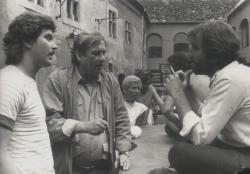 Sörös Sándor, Páskándi Géza, Borbáth Ottília és Geréb Attila a kőszegi vár udvarán (1982)