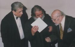 Páskándi Géza, Sára Sándor filmrendező és Gyarmathy Tihamér festőművész (1992)