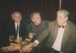 Ágh István, Tornai József és Páskándi Géza a 60. születésnapon
