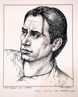 Páskándi Géza-portré (Lacza Márta grafikája)