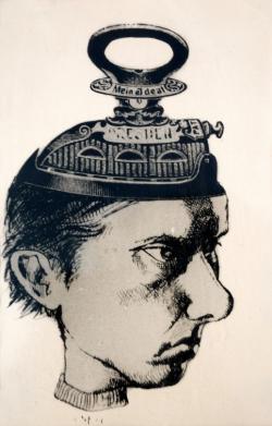 Karikatúra Páskándi Gézáról (Mein Ideal, grafikus: Cseh Gusztáv)