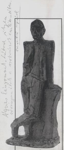 Páskándi Géza dedikációja a Benczédi-kisplasztikát ábrázoló fotón