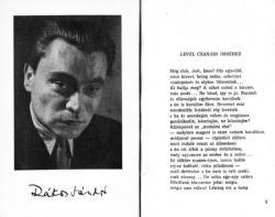 'A tűz udvarában' című, 1957-es kötet első lapjai a válságos időszakán túljutott költő fényképével