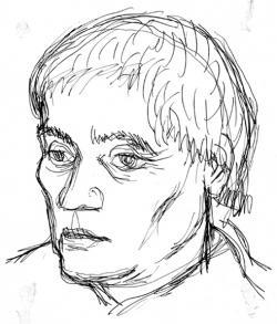 Veress Pál rajza költőbarátjáról a hatvanas-hetvenes évekből