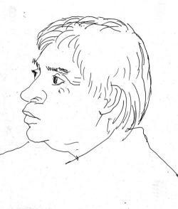 Veress Pál rajza az idősödő Rákos Sándorról
