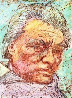 Papp Oszkár viaszkrétarajza 1999 karácsonyán elhunyt barátjáról és alkotótársáról