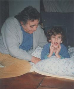 Unokájával, Tamással (1992 körül)