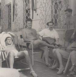 Somlyó György, Karinthy Ferenc, Méray Tibor a szigligeti alkotóházban, az 50-es évek közepén