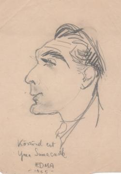 Somlyó György-karikatúra (EDMA [Edingerné Balázs Márta]: Nevető Pantheon, 1955)