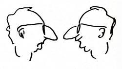 Spiró György karikatúrája a Kanásztánc című kötet borítóján (1992)