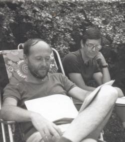 Fodor Gézával Csobánkán (fotó: Petri György, 1986)
