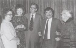 A Bolgár Kulturális Központban, Nikolinka Atanaszova, Jókai Anna, Juhász Ferenc, Somogyi Tóth Sándor, 1984. november 26.