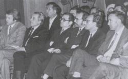 Bertók László, Csorba Győző, Bernics Ferenc, Fodor András, Bisztray Ádám, Kende Sándor, Arató Károly Csorba Győző hatvanadik születésnapján (Pécs, 1976)