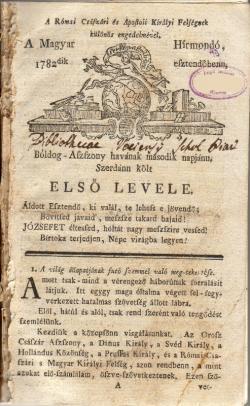 Magyar Hírmondó, Pozsony, 1782.