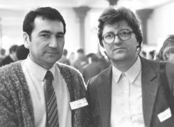 Görömbei Andrással az MDF 1. országos gyûlésén (1989)