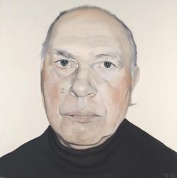 Fehér László: Kertész Imre (olaj, vászon, 140 x 140 cm)