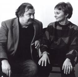 Lázár Ervin Vathy Zsuzsával (1980 körül)