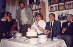 Lelkes Mária, König Róbert, Lázár Ervin és Görömbei András Nagy Gáspár 50. születésnapján (1999)