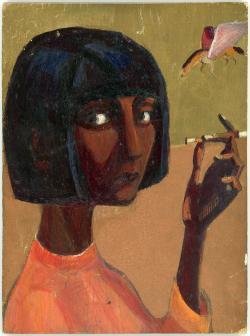 Nagy László: Szécsi Margit. é.n. (fa, olaj, 21x15,5 cm)
