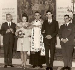 Saád Katalin és Pályi András esküvőjén tanúként Pilinszky Jánossal