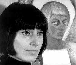 Szécsi Margit Nagy László képe előtt, 1973. (Fotó: Balla Demeter)