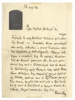 Tersánszky Józsi Jenő (1888–1969) autográf tintaírású levele Fenyő Miksának (1877–1972)
