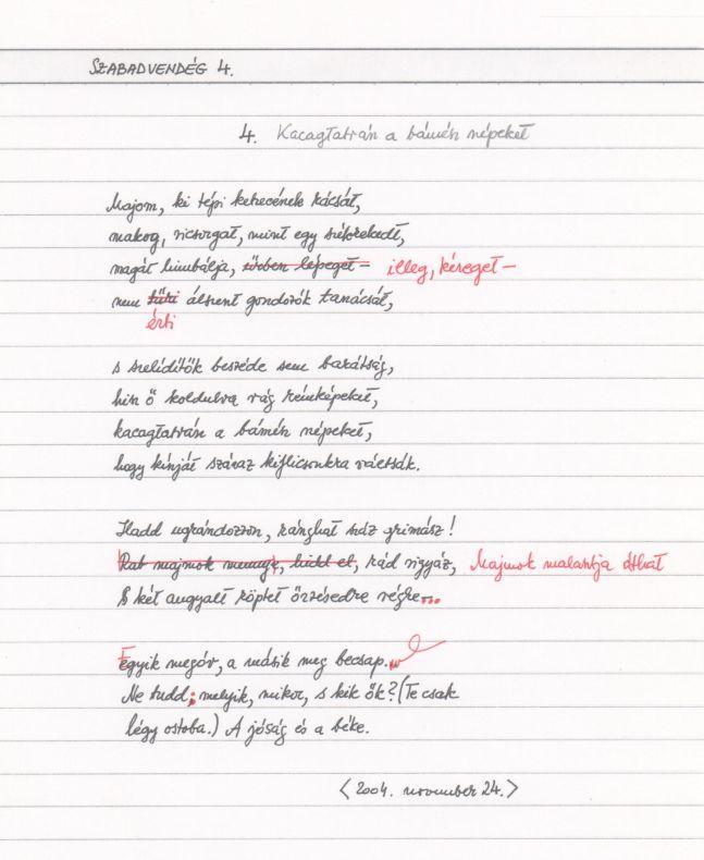 A Szabadvendég című szonettciklus kézirata - (4   14) aa61c46ef9