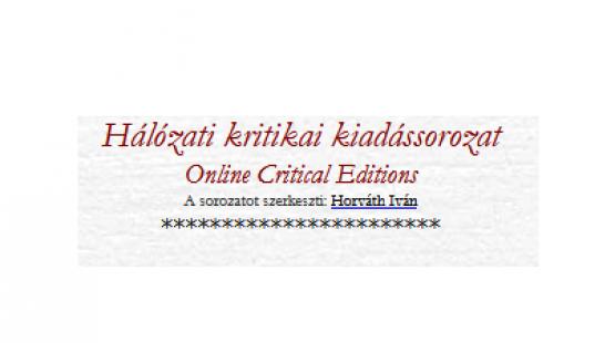 Hálózati kritikai kiadássorozat
