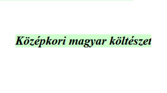 Középkori magyar költészet